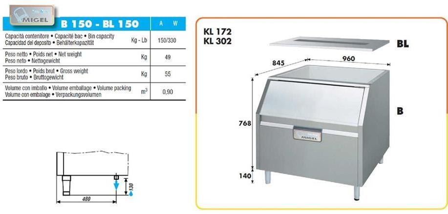 Vendo contenitore di ghiaccio professionale 150 kg for Prezzo acciaio inox al kg